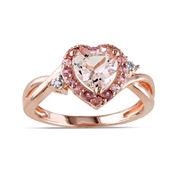 Genuine Morganite, Pink Tourmaline and Diamond-Accent Heart-Shaped Ring