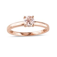 Genuine Morganite 10K Rose Gold Solitaire Ring