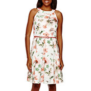 Danny & Nicole® Sleeveless Halter Neck Floral Fit-and-Flare Dress