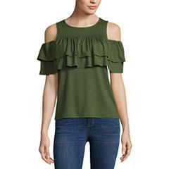 a.n.a Double Ruffle Cold Shoulder Top