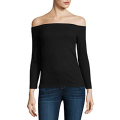 a.n.a 3/4 Sleeve Ribbed Cold Shoulder Top
