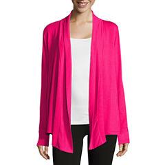 Liz Claiborne® Long-Sleeve Rib-Trim Open Cardigan