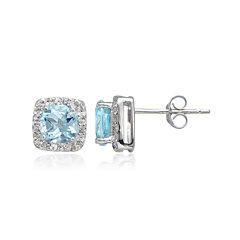 Silver Treasures™ Genuine Blue Topaz & Cubic Zirconia Sterling Silver Square Halo Stud Earrings