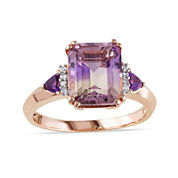 Genuine Ametrine Amethyst and Diamond-Accent Ring