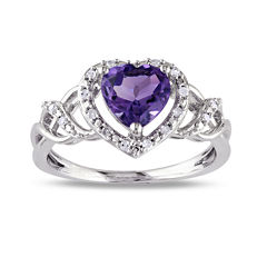 Heart-Shaped Genuine Amethyst and Diamond-Accent Ring
