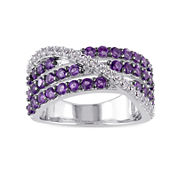 Genuine Amethyst and Lab-Created White Sapphire Band