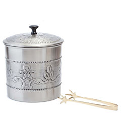 Old Dutch Antique Embossed Victoria Ice Bucket with Brass Tong 3 Qt