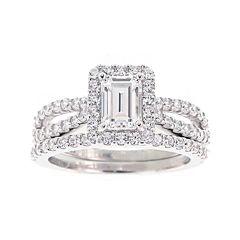 DiamonArt® Cubic Zirconia Sterling Silver Emerald-Cut Bridal Ring Set