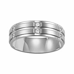 Unisex 1/6 CT. T.W. White Diamond Stainless Steel Wedding Band