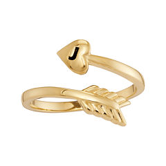 Personalized 14K Yellow Gold Bypass Arrow Initial Ring