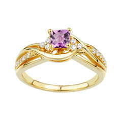 DiamonArt® Pink and White Cubic Zirconia Bypass Bridal Ring