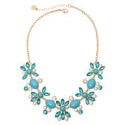 Monet® Gold-Tone Blue Stone and Crystal Statement Necklace