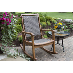 Outdoor Interiors Resin Wicker and Eucalyptus Rocking Chair