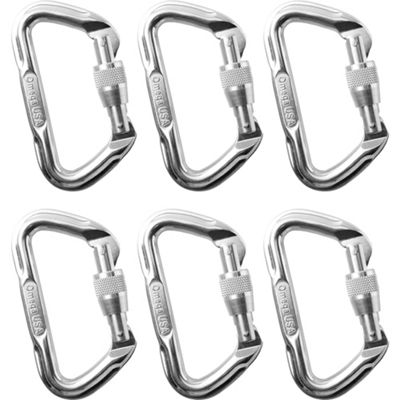 Omega Pacific D Locking Carabiners - 6 Pack