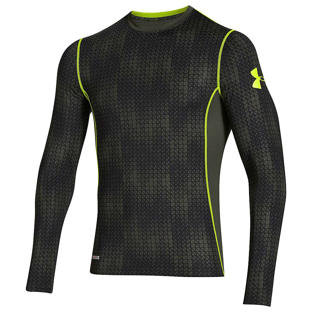Under armour men 39 s heatgear sonic fitted printed long for Yellow under armour long sleeve shirt