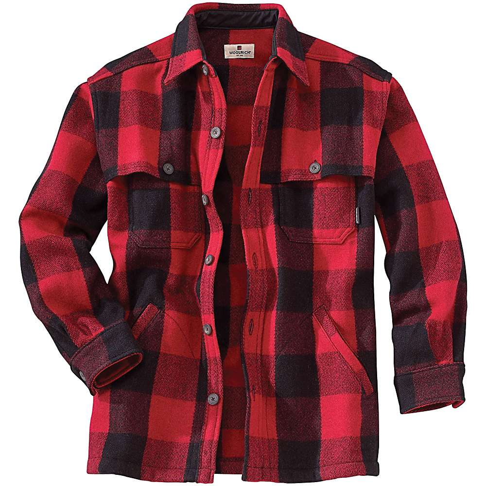 Woolrich men 39 s wool stag shirt moosejaw for Mens red wool shirt