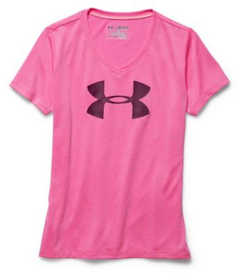 Under Armour Girls' Big Logo Tech Novelty V Neck SS Tee