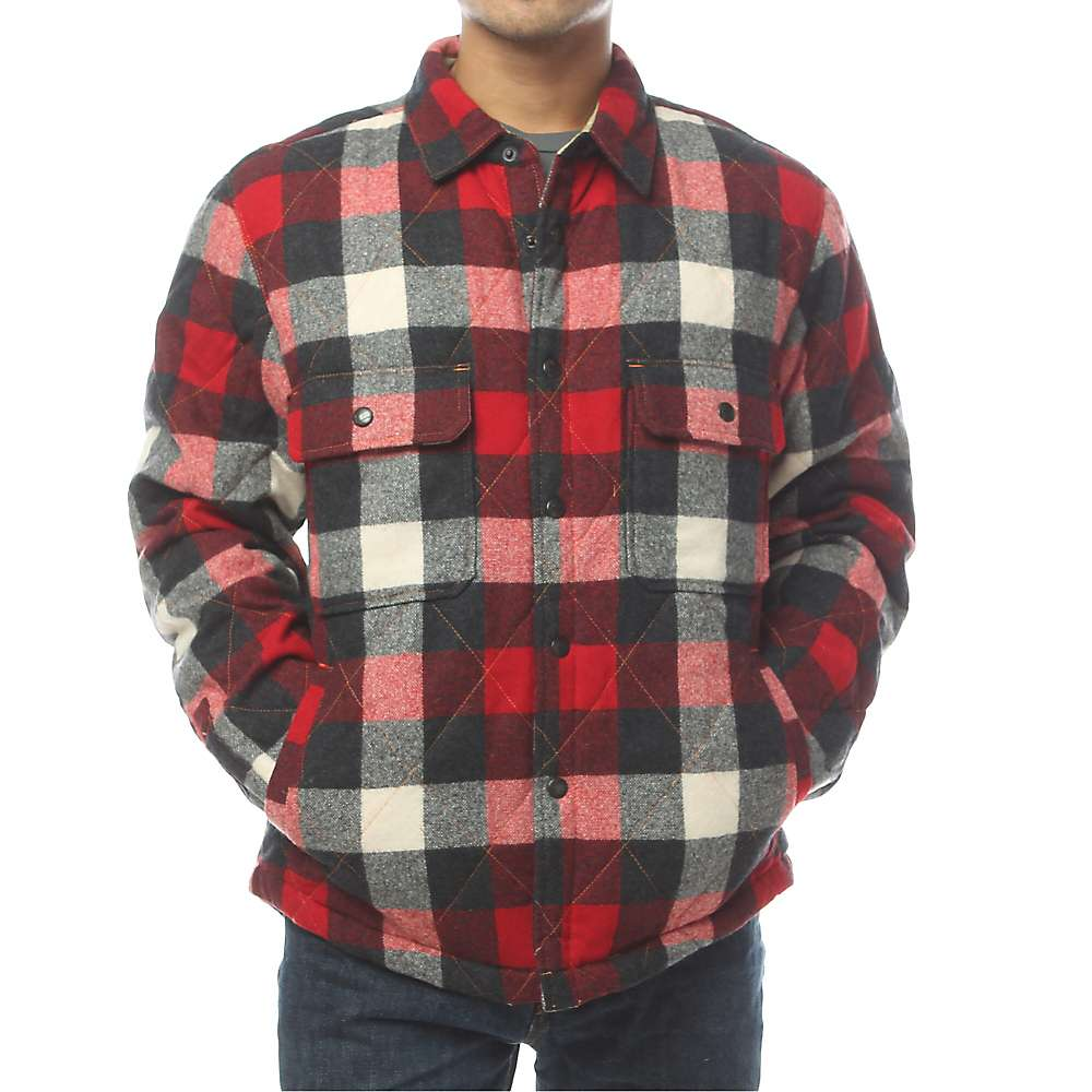Woolrich men 39 s quilted mill wool shirt jac moosejaw for Mens red wool shirt