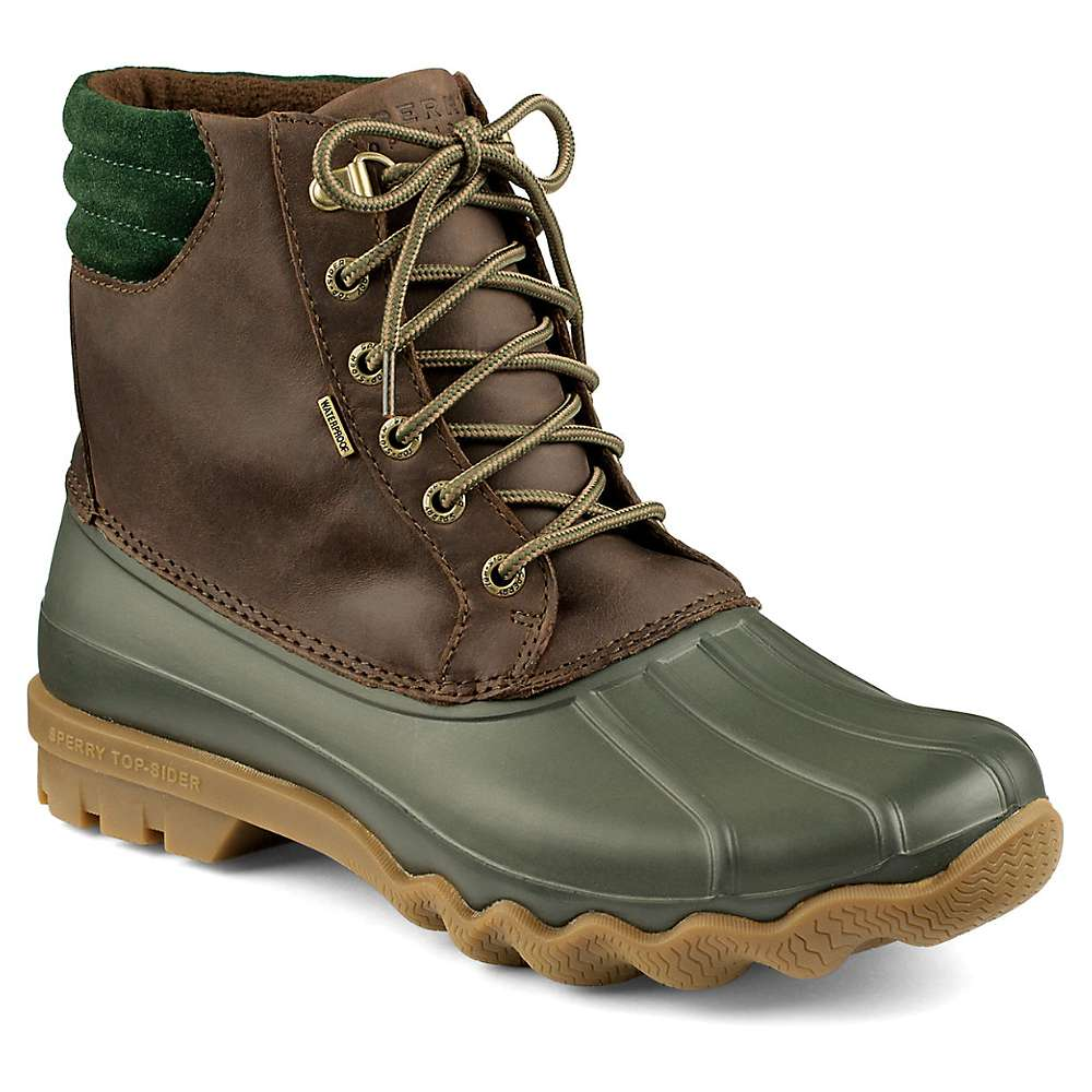 Mens Sperry Top-Sider Avenue duck boots feature a durable leather and rubber upper with lace up closure, thermal fleece lining and rubber outsole. These water proof boots will keep your feet warm and dry during this cold and wet season! Heel height: 1. Shaft height: 6.