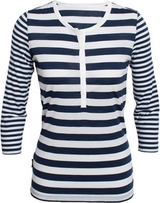 Icebreaker Women's Tech Lite 3Q Henley Stripe Top