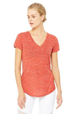 Alo Women's Deep V Neck SS Top