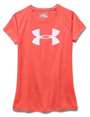 Under Armour Girls' Solid Big Logo Tech SS Tee