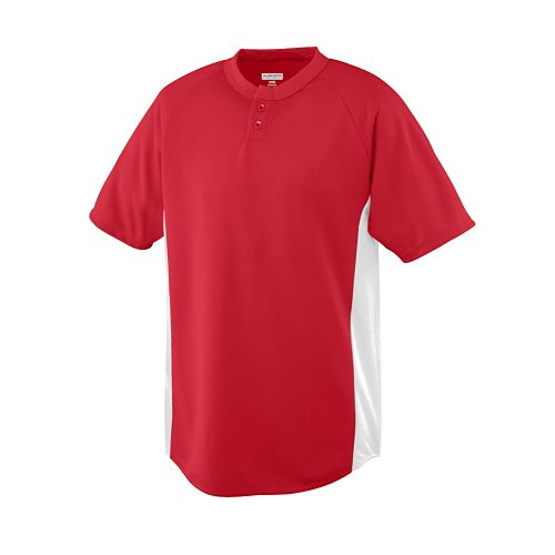 YOUTH WICKING COLOR BLOCK TWO-BUTTON JERSEY