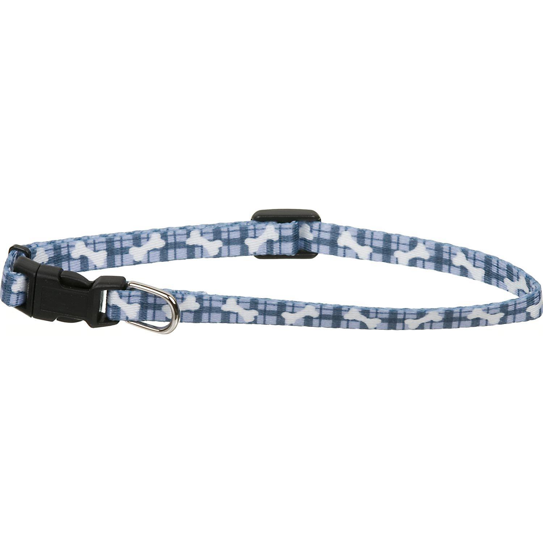 Coastal Pet Li'l Pals Adjustable Nylon Collar in Blue Plaid with White Paws