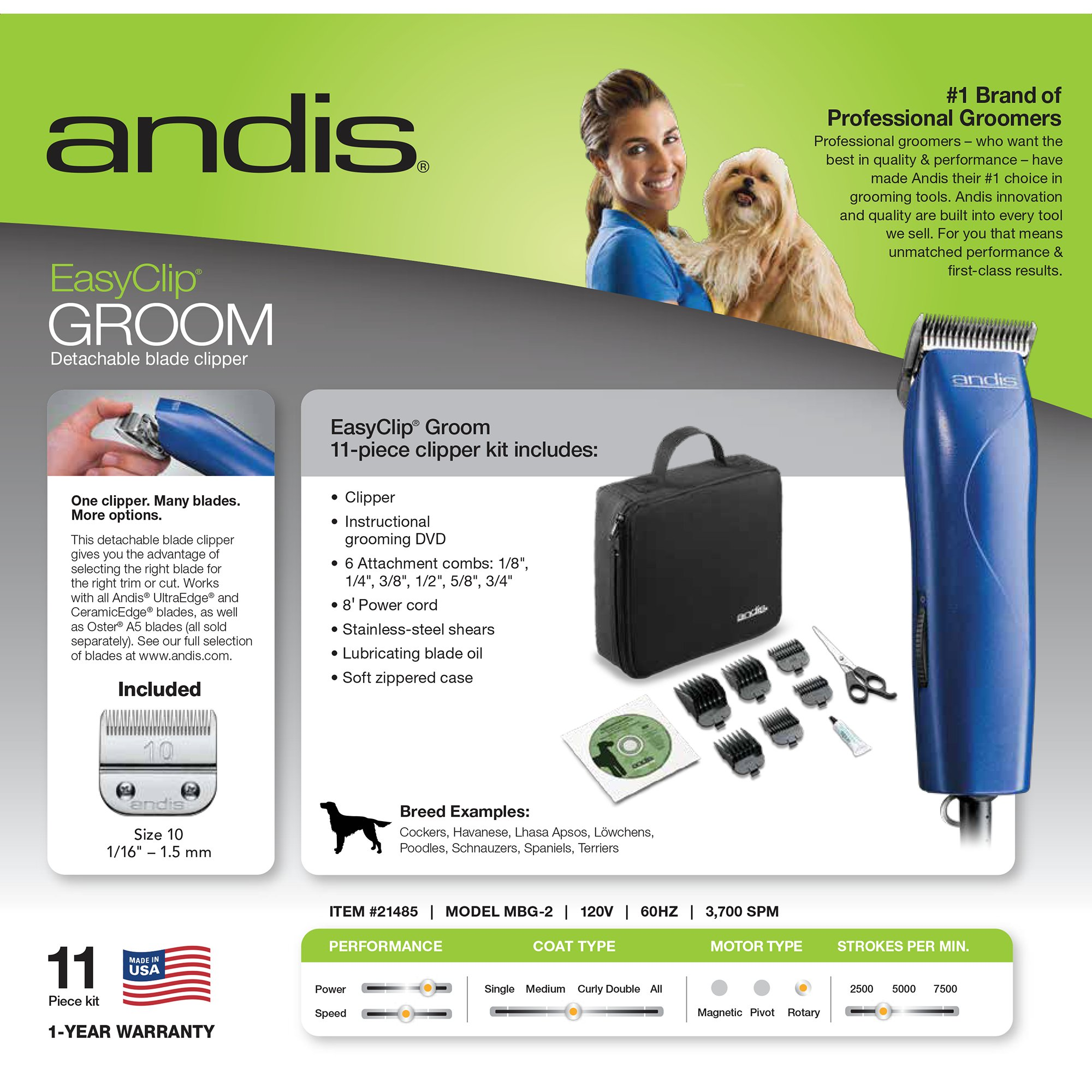 Andis Easy Clip Groom Clipper Kit For Dogs