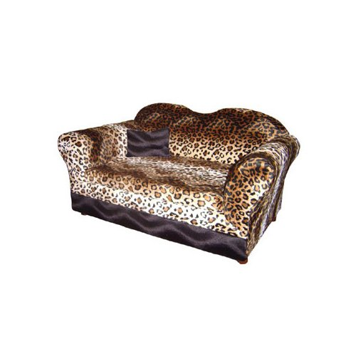 Fantasy Furniture Homey Sofa with Wood in Leopard Stripe
