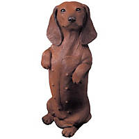 Sandicast Red Dachshund Sitting Pretty Original Size Figurine