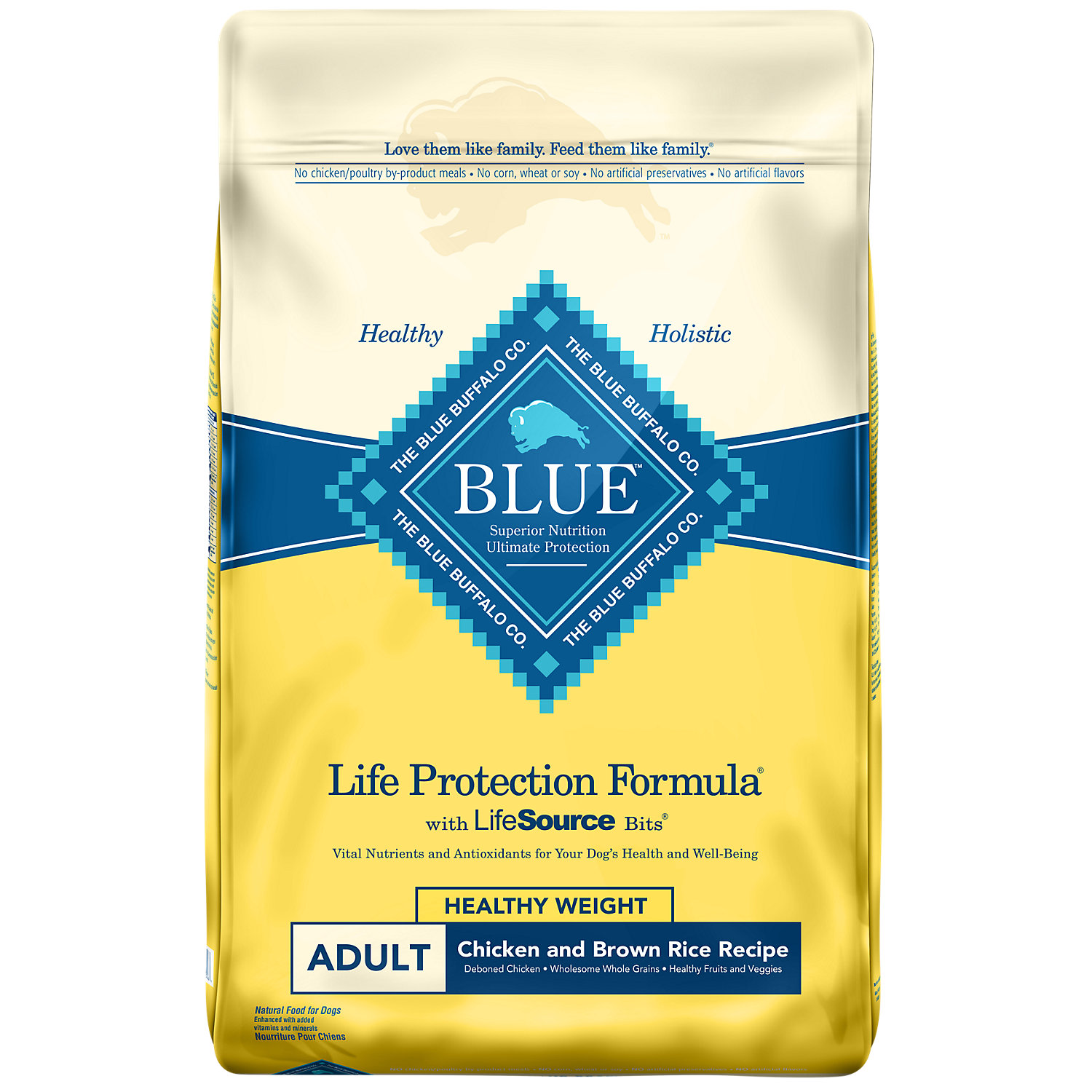 Blue Buffalo Chicken Brown Rice Healthy Weight Adult Dog Food 15 Lbs.