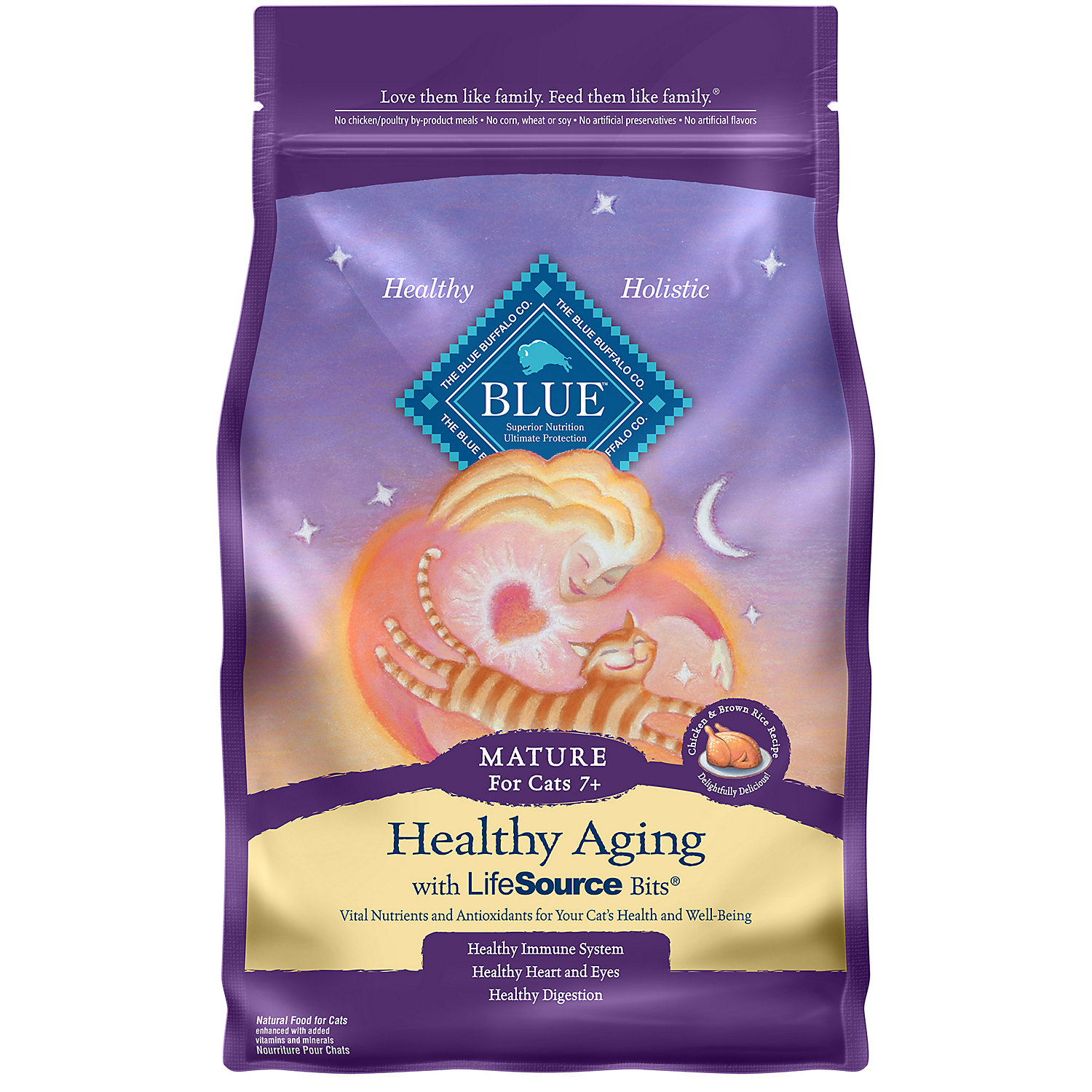 Blue Buffalo Healthy Aging Chicken Brown Rice Senior Cat Food 7 Lbs.