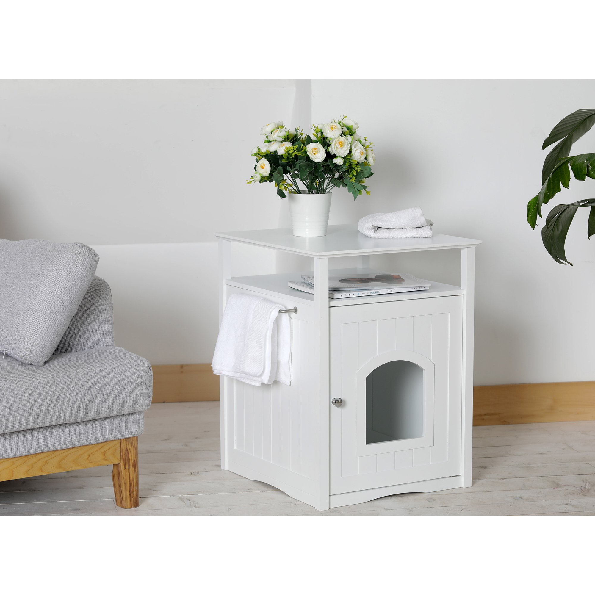 Merry Products Cat Washroom Night Stand & Pet House in White