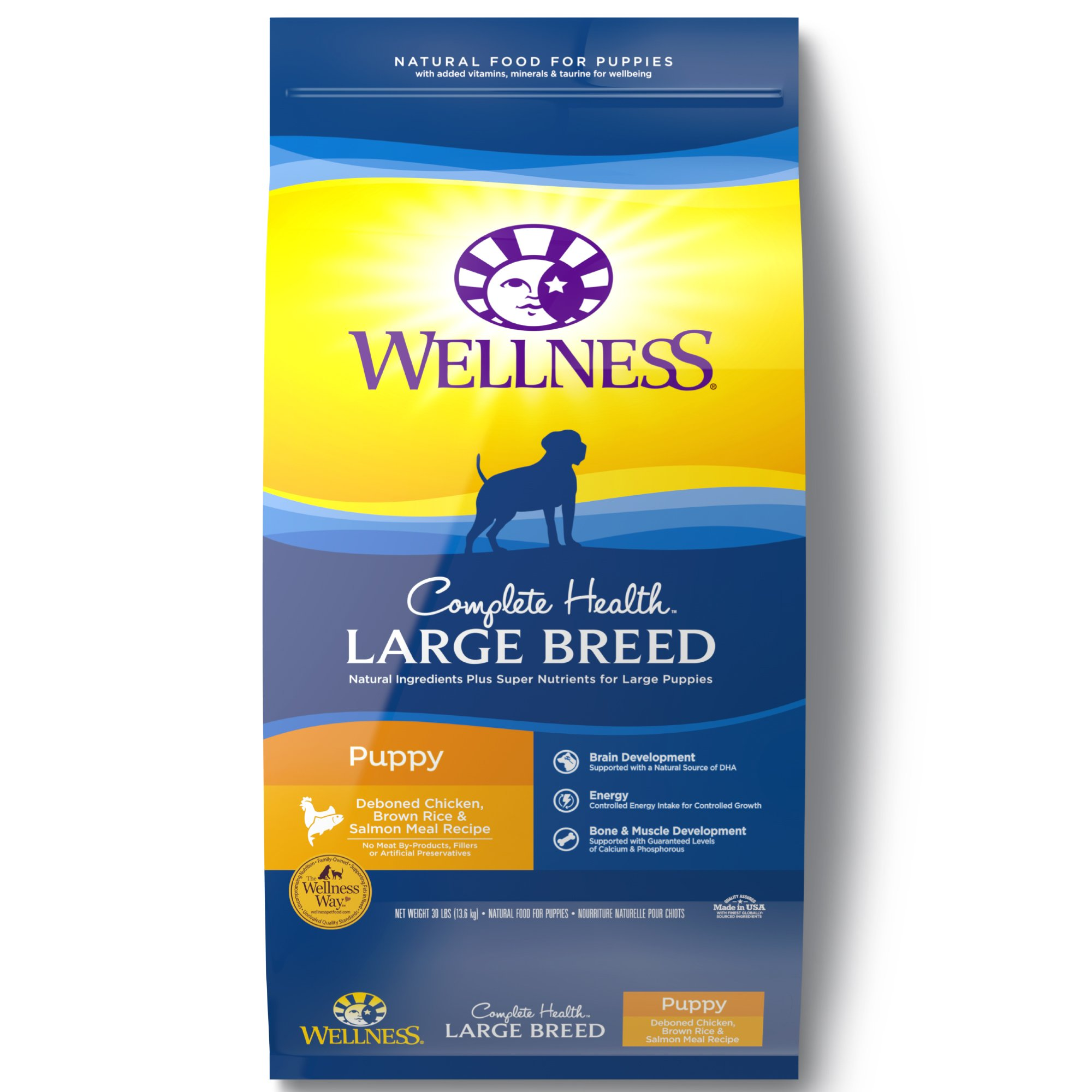 Wellness Complete Health Chicken Brown Rice and Salmon Meal Large Breed Puppy Food
