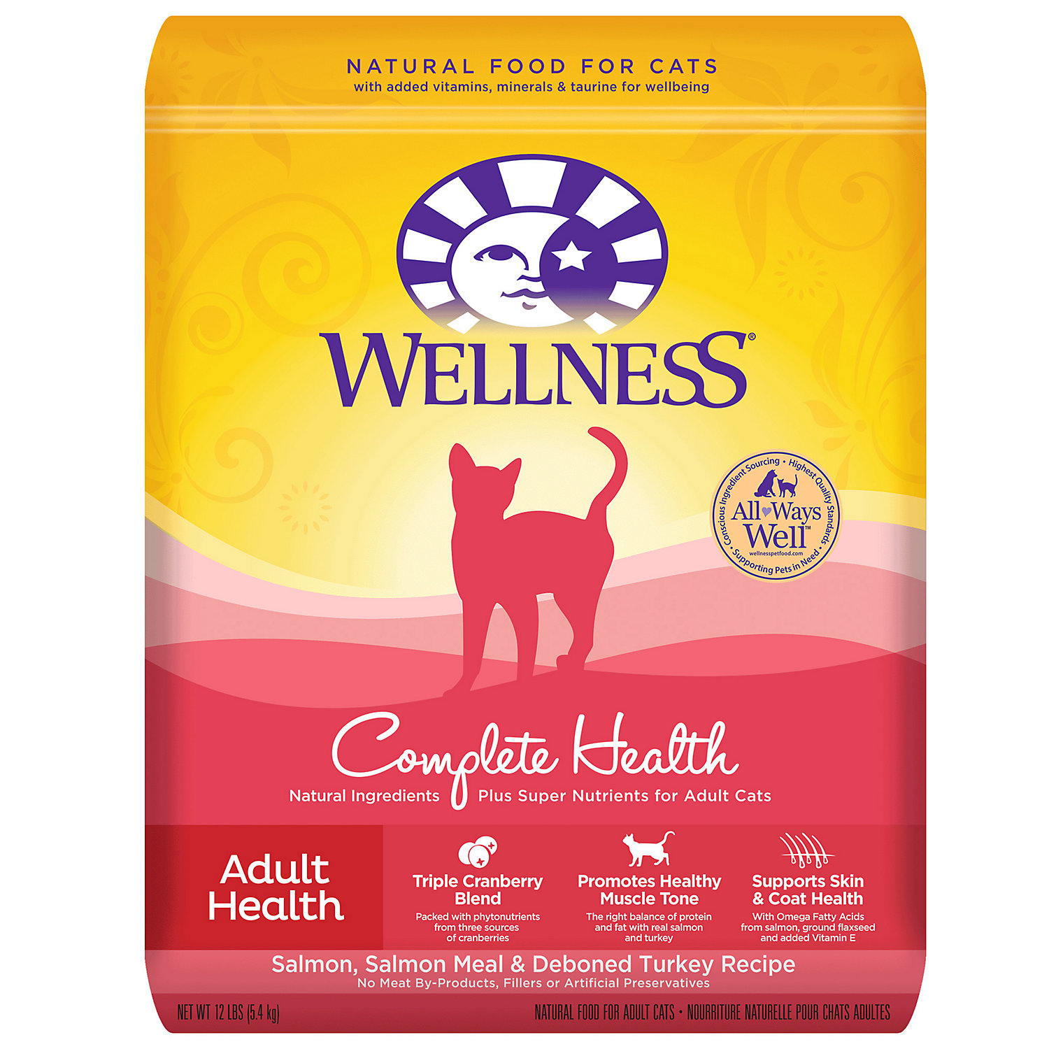 Wellness Complete Health Natural Dry Cat Food, Salmon and De