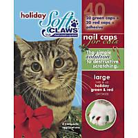 Soft Claws Seasonal Holiday Red & Green Cat Nail Caps