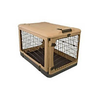 Pet Gear Deluxe Steel Crate in Tan & Black