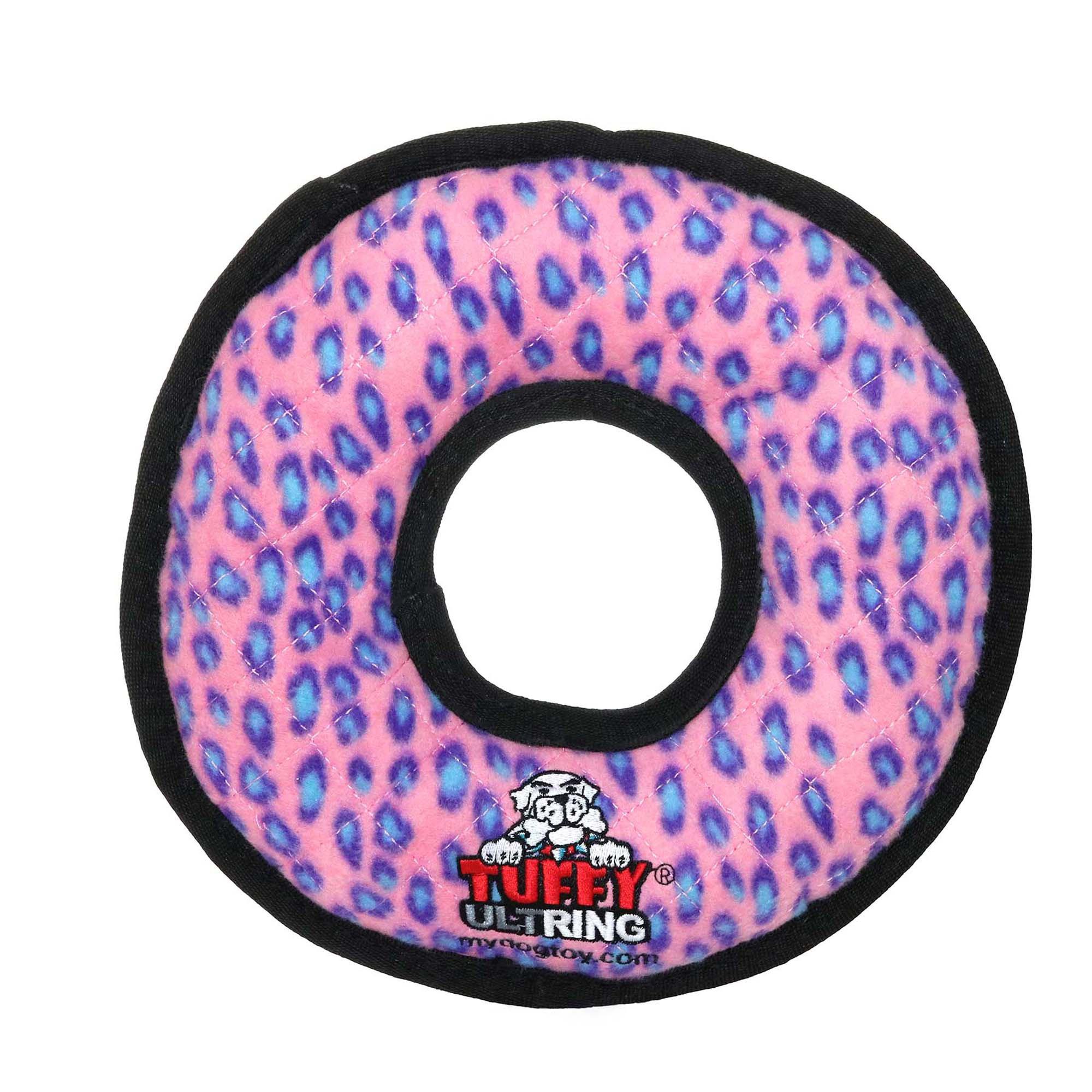 VIP Products Tuffy's Pink Leopard Ring Dog Toy