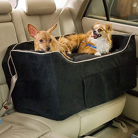snoozer black luxury lookout ii double dog car seat petco. Black Bedroom Furniture Sets. Home Design Ideas