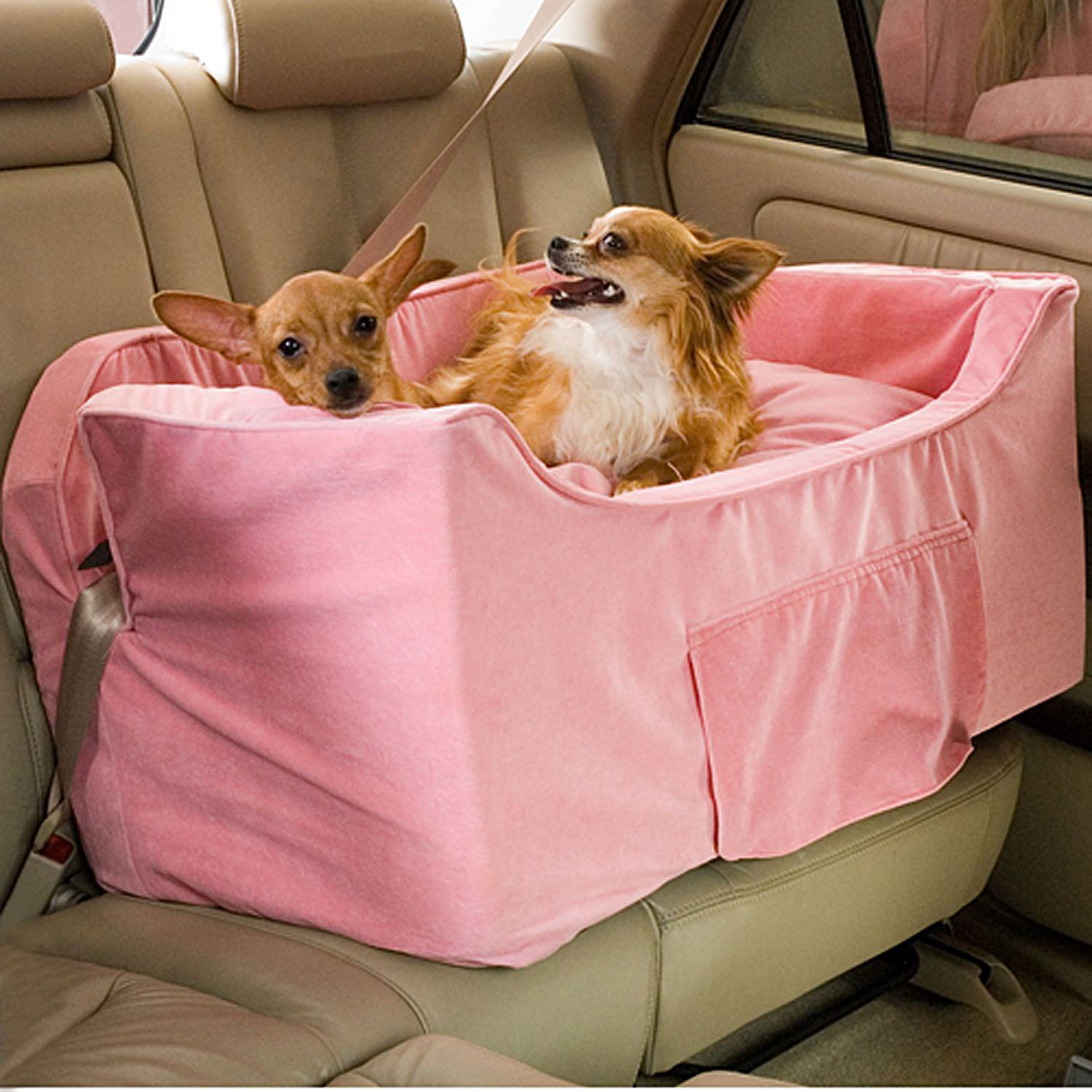 snoozer pink luxury lookout ii double dog car seat petco. Black Bedroom Furniture Sets. Home Design Ideas