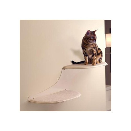 The Refined Feline Cloud Shelf in Off-White, Right Facing