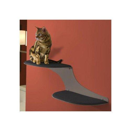The Refined Feline Cloud Shelf in Titanium, Left Facing