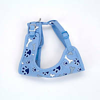 Coastal Pet Li'l Pals Adjustable Soft Mesh Harness in Blue with Bones & Paw Prints