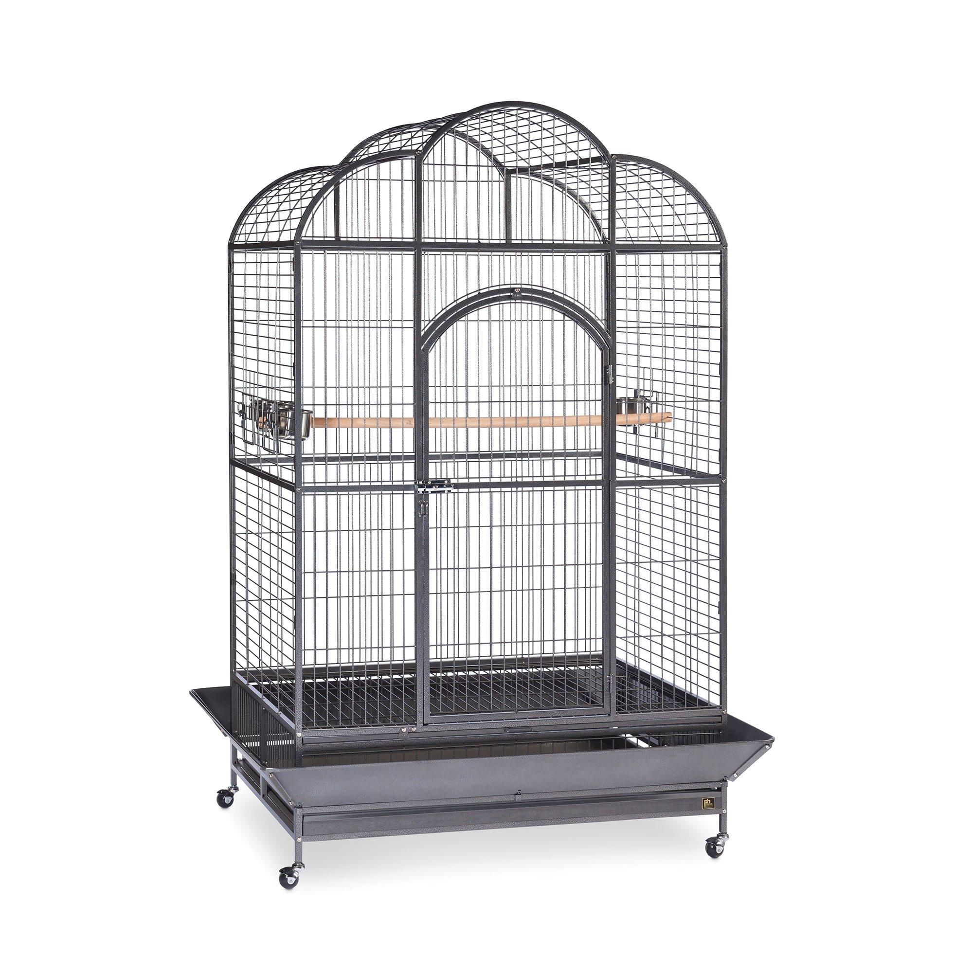 Prevue Hendryx Signature Series Wrought Iron Silverado Macaw Dometop Bird Cage in Silver
