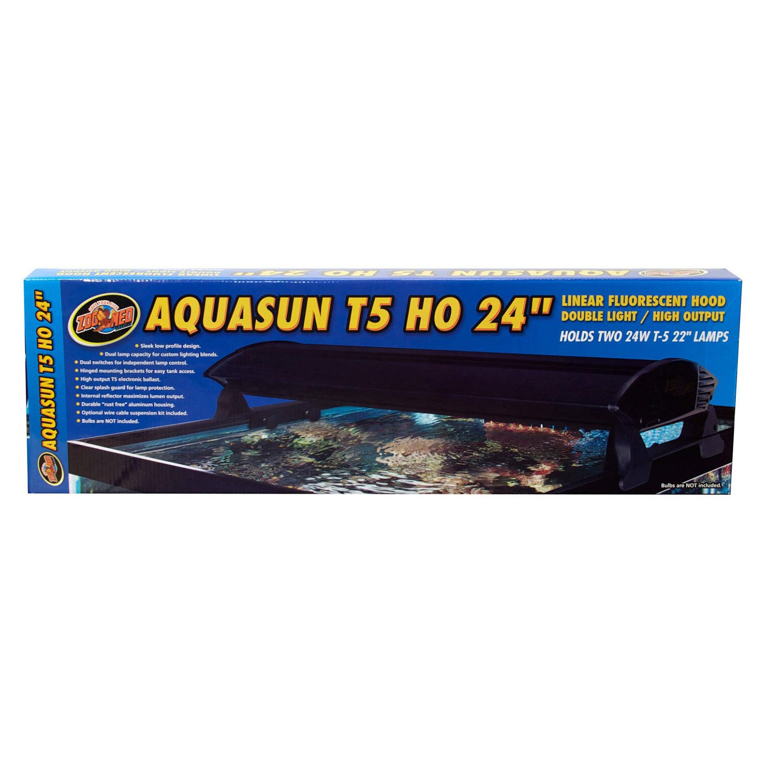 "Zoo Med AquaSun T-5 HO Double Light Linear Fluorescent Hood, 24"" Length"