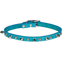 Petco Leather Dog Collar in Turquoise with Metal Spikes