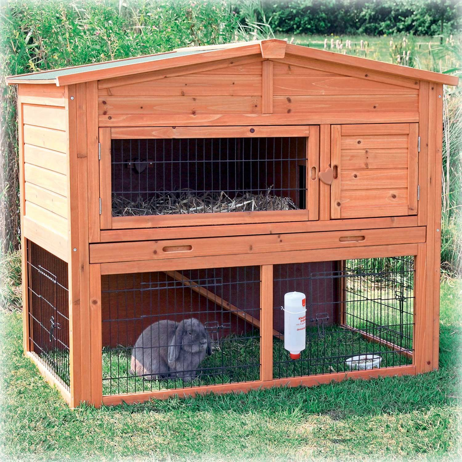 Trixie Natura Animal Hutch with Peaked Roof in Brown