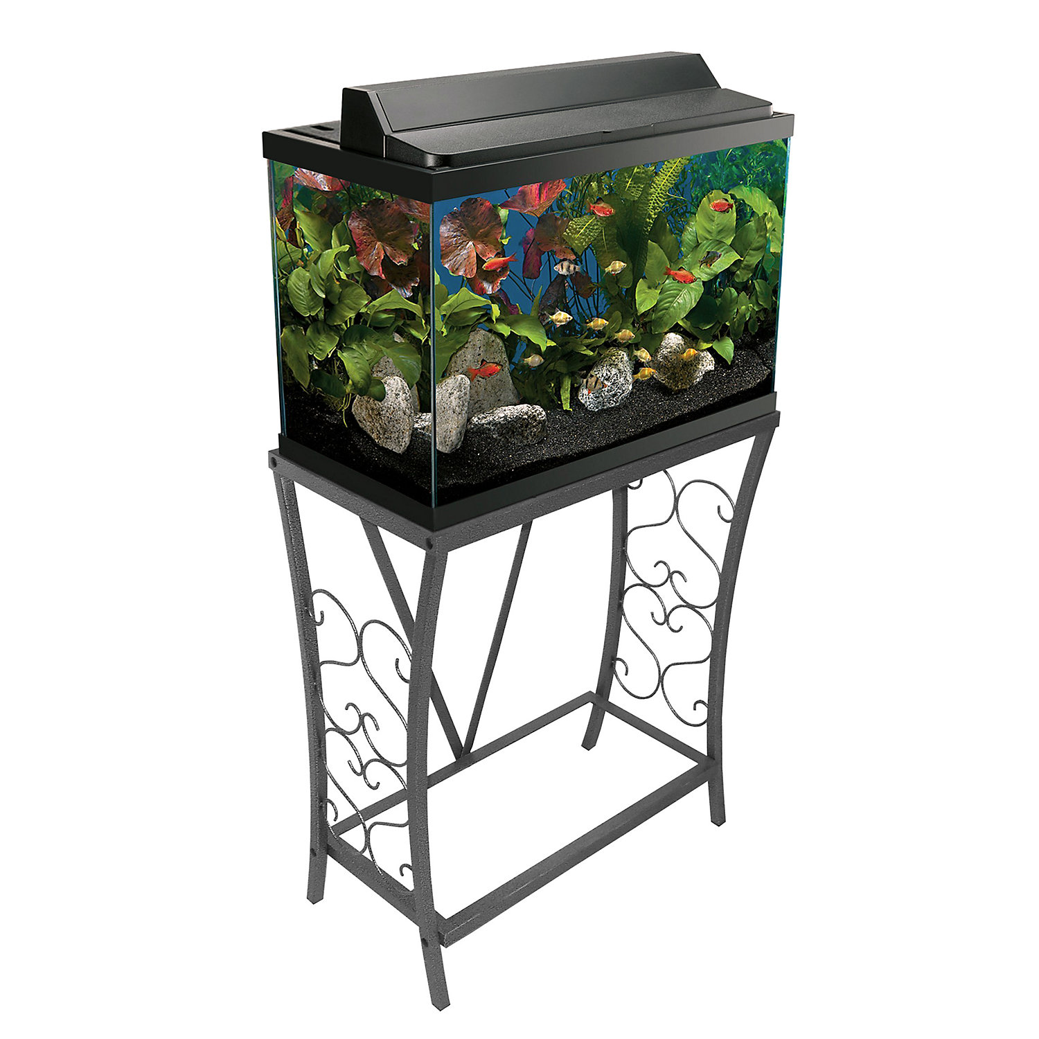 Fish for aquarium online - Aquatic Fundamentals Silver Vein Scroll Aquarium Stand 20 Gal