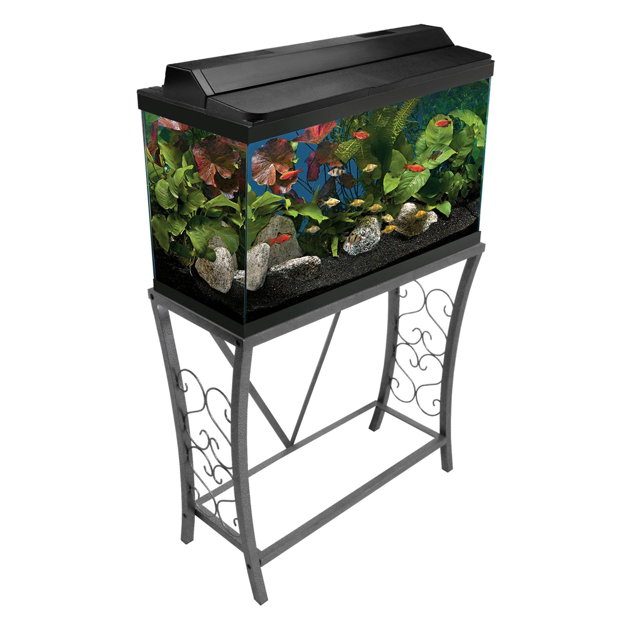 Aquatic fundamentals silver vein scroll aquarium stand 29 for 29 gallon fish tank stand